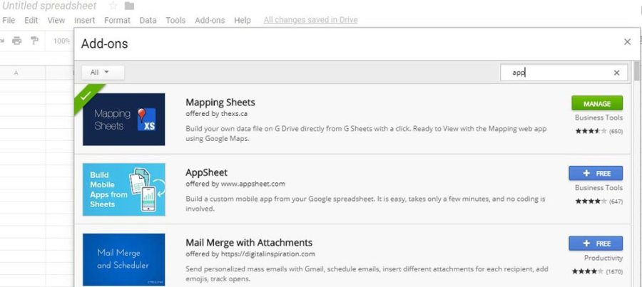 create an App with Google sheets add-on